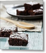 Brownies With A Wood Spoon Kitchen Art Metal Print