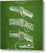 Browning Rifle Patent Drawing From 1921 - Green Metal Print