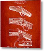 Browning Rifle Patent Drawing From 1921 - Red Metal Print