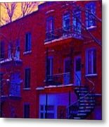 Brownstones In Winter 6 Metal Print
