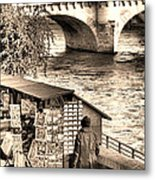 Browsing The Outdoor Bookseller  Metal Print