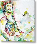 Bruce Springsteen Playing The Guitar Watercolor Portrait.2 Metal Print