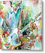 Bruce Springsteen Playing The Guitar Watercolor Portrait.3 Metal Print by Fabrizio Cassetta