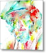 Bruce Springsteen Watercolor Portrait Metal Print by Fabrizio Cassetta