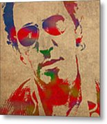 Bruce Springsteen Watercolor Portrait On Worn Distressed Canvas Metal Print