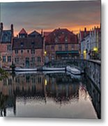 Bruges Canal Dawn Metal Print