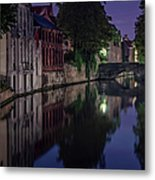 Bruges Canal Near Blind Donkey Alley  Metal Print