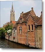 Bruges Houses With Bell Tower Metal Print by Carol Groenen