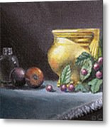 Brushed Gold Vase Metal Print