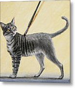 Brushing The Cat - No. 2 Metal Print by Crista Forest