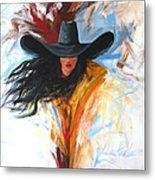 Brushstroke Cowgirl Metal Print by Lance Headlee