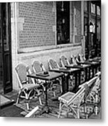 Brussels Cafe In Black And White Metal Print