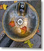 Bryant Park Fountain In Autumn Metal Print