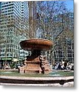Bryant Park Fountain Metal Print by Tony Ambrosio