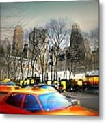 Bryant Park Taxi Metal Print by Diana Angstadt