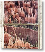 Bryce Canyon Utah View Through A White Rustic Window Frame Metal Print