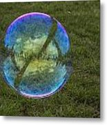 Bubble On Grass With St.johns Bridge Metal Print