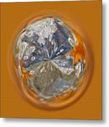 Bubble Out Of Orange Orb Metal Print