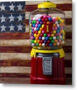 Bubblegum Machine And American Flag Metal Print
