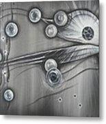 Bubbles In Grey Metal Print