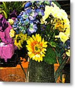Bucket Of Flowers Metal Print