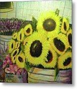 Bucket Of Sunflowers Metal Print