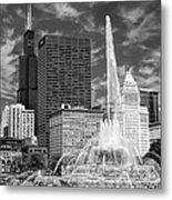 Buckingham Fountain Sears Tower Black And White Metal Print