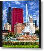 Buckingham Fountain Sears Tower Poster Metal Print