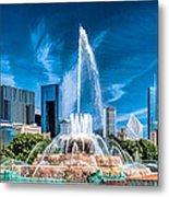 Buckingham Fountain Skyline Panorama Metal Print