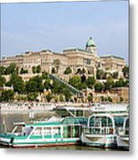 Buda Castle And Boats On Danube River Metal Print