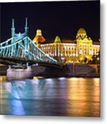 Budapest Night Bridge Metal Print