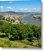 Budapest Panoramic View From The Gellert Hill With Danube River Metal Print