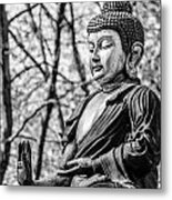 Buddha - Siddhartha Gautama - In Black And White Metal Print