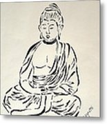 Buddha In Black And White Metal Print