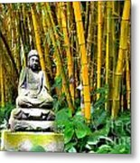 Buddha In The Bamboo Forest Metal Print