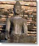 Buddha Statue Outside Thai Temple Metal Print