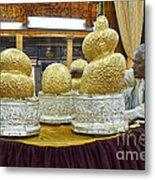 Buddha Figures With Thick Layer Of Gold Leaf In Phaung Daw U Pagoda Myanmar Metal Print