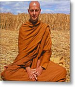 Buddhist Monk Meditating Metal Print by David Parker and SPL