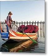Buddhist Monks And Sightseeing Boat Metal Print
