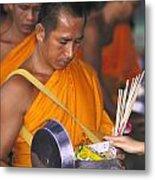Buddhist Monks Receiving Alms Metal Print