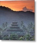 Buddhist Temple At Sunset Metal Print