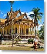 Buddhist Temple In Kratje - Cambodia Metal Print