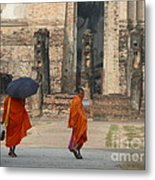 Buddist Monks Visiting Sukhothia Metal Print