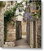 Budva Old Town Cobbled Street In Montenegro Metal Print
