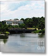 Buffalo History Museum And Delaware Park Hoyt Lake Oil Painting Effect Metal Print