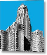 Buffalo New York Skyline 1 - Ice Blue Metal Print