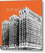 Buffalo New York Skyline 2 - Coral Metal Print