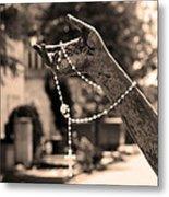 Buiatti Memorial Marker Detail Monumental Cemetery Sepia Metal Print