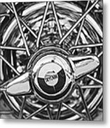 Buick Skylark Wheel Black And White Metal Print