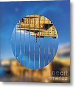 Building In The Morning With Starry Night Sky Metal Print